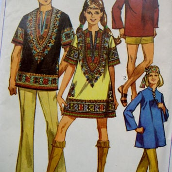 Vintage Simplicity Sewing Pattern 8177 MOD Tunic The Dashiki Tunic Festival Tunic Hippie Top Boho Tunic Hippie Mini Dress Size 10 UNCUT