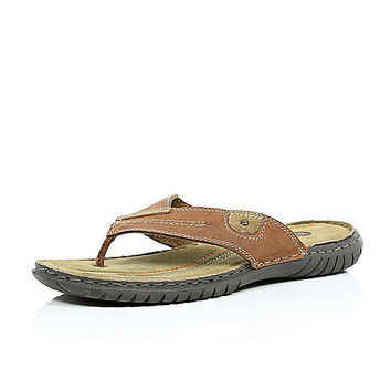 River Island MensBrown leather toe post sandals