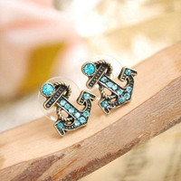 Retro navy diamond sea anchor earrings & stud [191]
