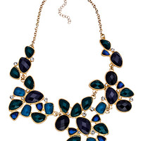 Blu Bijoux Gold Blue Green and Crystal Large Bib Necklace - Max & Chloe