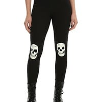 Blackheart Black & White Skull Knee Glow-In-The-Dark Leggings