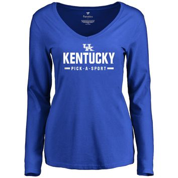 Women's Royal Kentucky Wildcats Custom Sport Wordmark Long Sleeve T-Shirt