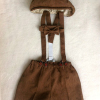 Henry Newsboy Set in Brown Pinstripe Linen