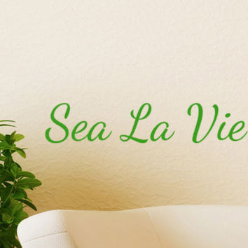 Sea La Vie Beach Decor Wall Decal Word Quotes , cute nautical decorations, vinyl lettering sayings, seaside