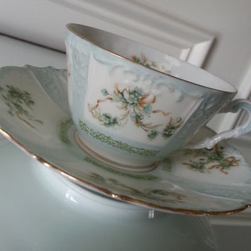 Antique Hermann Ohme Silesia blue floral tea cup and saucer set, Polish fine porcelain china tea set, wedding gift
