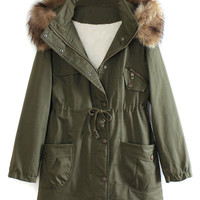 Military Green Pocket Detail Detachable Faux Fur Hood Parka Coat