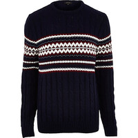 River Island MensNavy fair isle cable knit Christmas sweater