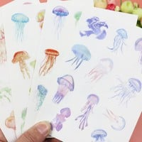 4Sheets/Pack Cute Hand painted jelly sticker scrub PVC Stickers Scrapbooking Daily Stationery School Supplies Sticker E0223