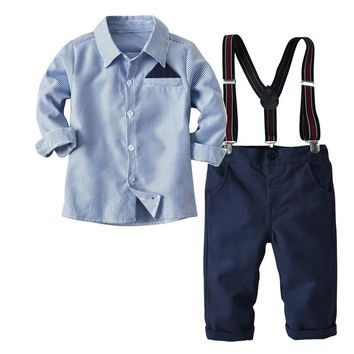 2-7T Boys 2 Pcs Clothing Set For Baby Kids Striped Costume 2018 Autumn Long Sleeves Shirt Children Suspender Trouser Set