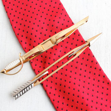 Vintage Mens Tie Bar Lot - Sword & Arrow Retro Tie Clips by Swank, Gold and Silver Tone Weapon Jewelry Accessories