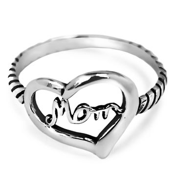 925 Sterling Silver Love of Mom Heart Ring 14MM