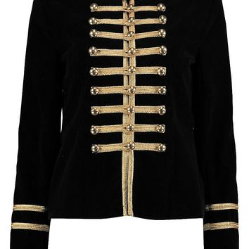 Daisy Boutique Military Velvet Jacket | Boohoo