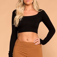 Melora Black Long Sleeve Crop Top
