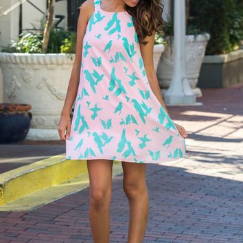 Fly Above Pink Mint Bird Print Dress Shop Simply Me boutique – Simply Me Boutique