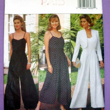 Women's Bolero Jacket and Sleeveless Jumpsuit Misses' / Misses' Petite Size 6, 8, 10, 12 Butterick 6789 Vintage Sewing Pattern