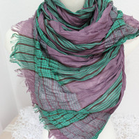 Men's scarves, men Green lilac scarf, Striped scarf men, Father's Day gift, Men's plaid scarves, Organic fabrics, Male bar pattern scarf