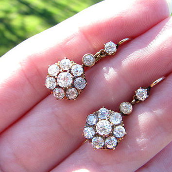 Gorgeous Antique Diamond Daisy Earrings, Bright Fiery Old European Cut Diamonds, 14K Diamond Drop Earpendants, appr 2.20 ctw, So Elegant