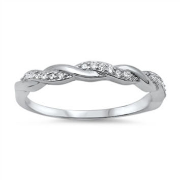 925 Sterling Silver CZ Alternate Braid Ring 3MM
