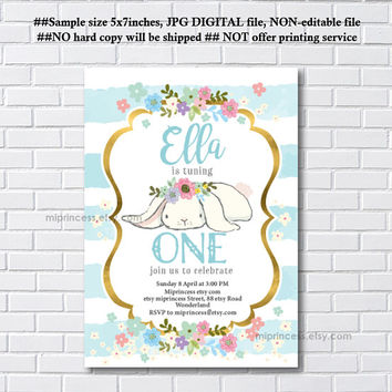 Bunny Birthday Invitation ,  Bunny Invitation, easter party any age, 1st 2nd 3rd 4th 5th first birthday Invitation , invite card 1229