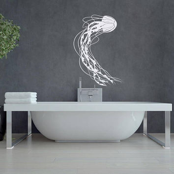 Jelly Fish Wall Decal- Underwater Decal- Jellyfish Decal Ocean Sea Bathroom Decor- Ocean Wall Decal Bathroom Nursery Nautical Art Decor #148