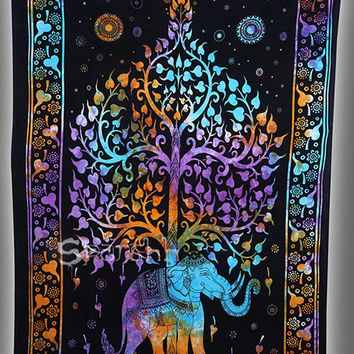 Queen Tie-dye Hippie Elephant Tapestry-Hippie Wall Hanging