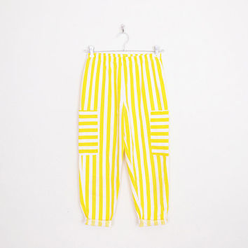 White & Yellow Stripe Pant 80s Harem Pant 80s High Waist Skinny Pant 80s Skinny High Waist Pant Crop Pant 80s Pant Women S Small M Medium