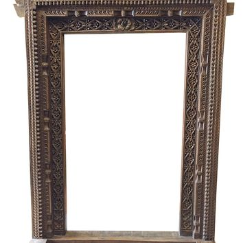 Jaipur Arch Carved Frame, Antique Welcome Gate Teak Vintage Architectural Indian Door Frame