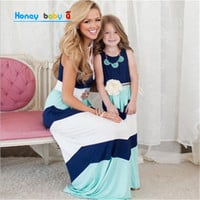 2016 family matching mother daughter dresses clothes striped mom and daughter dress kids parent child outfits