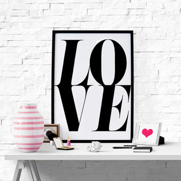 Love Print Love Typography Love Poster Love Quote Printable Wall Art Instant Download Love Printable Love Sign I Love You Decor