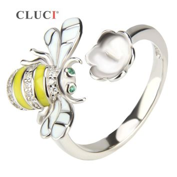CLUCI Cute Dancing Bee Ring, 925 sterling silver working bee charms for women, Anniversary/valentine's/Birhtday present