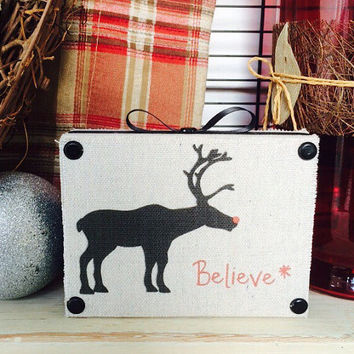 wood signs / Rudolph / believe / Decorative wooden shelf sitter / rustic / signs for the home