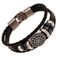 Handmade braided charm Genuine Leather bracelet men fashion vintage engraved bracelets bangles korean jewelry