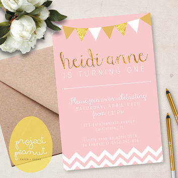 Printable Kids' Party Invitation: Pink & Gold