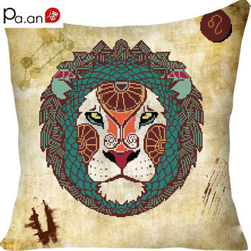 New 45x45cm cross stitch pillow case Leo Libra Pisces constellation pattern diy cushion cover needle arts home product