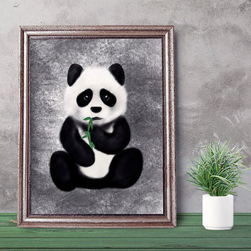Panda art, panda print, wall art, wall art printable, nursery wall art, kids room art, wall decor print, download print, kids printable gift