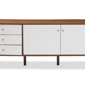 Baxton Studio Harlow Mid-century Modern Scandinavian Style White and Walnut Wood Sideboard Storage Cabinet Set of 1