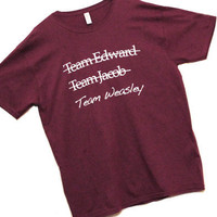 TEAM Weasley Shirt  Size MEDIUM  Maroon 100 Cotton by MockTheRock