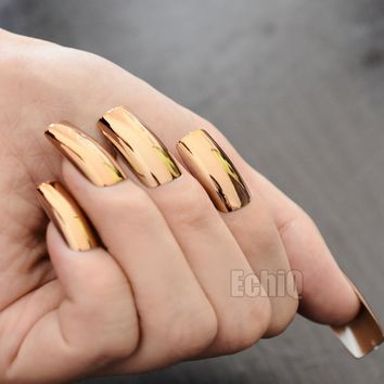 20pcs/kit Shinning Champagne Metallic False Nails Extra Long Mirror Nail Design Art Tips Easy Wear Manicure Accessories N16