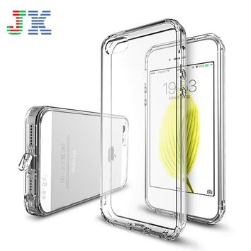 JK Brand Phone Case for iPhone SE 5S Colorful Transparent Clear Soft TPU Silicone Frame + Hard PC Back Cover for iPhone 5 5S SE