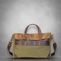 Camouflage Camo Genuine Leather and Canvas Messenger Bag laptop tablet A4 documents postman travel business casual school