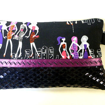 wristlet clutch/fabric zipper clutch/fabric zipper pouch/retro print/spring wedding/spring wallet clutch/bridesmaid gift/evening bag