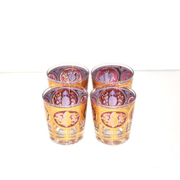 Vintage Rock Tumbler Glasses Low Ball Glasses Cranberry Pineapple Fruit Pattern by Cora Glassware Cocktail Glasses Set of 4 Glasses Barware