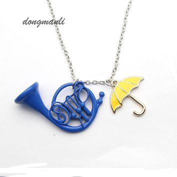 How I Met Your Mother Umbrella Yellow Blue French Horn Pendant Necklace For Mom Party Cosplay Mother True Love Gift Jewelry