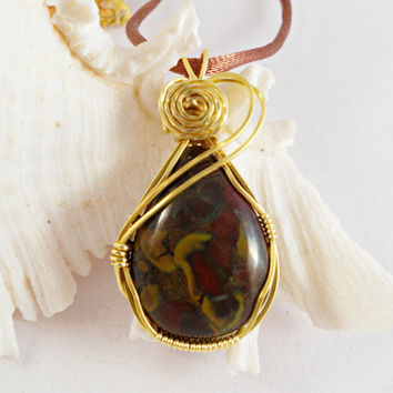 Wire Wrapped Jasper Pendant, Handmade Jewelry