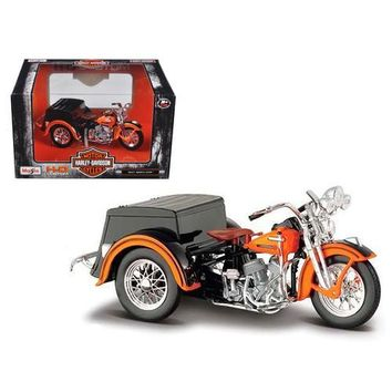 1947 Harley Davidson Servi-Car Black with Orange HD Custom Motorcycle Model 1/18 Diecast Model by Maisto