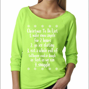 UGLY CHRISTMAS SWEATER Buddy the elf  Ladies Terry Off Shoulder Sweater, Cozy , Xmas List, The Terry Raw Edge 3/4-Sleeve Raglan