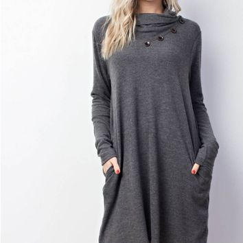 Knit Buttoned Cowl-Neck Pocket Dress