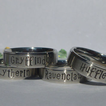 Harry Potter Inspired Hogwarts House Ring / Class Ring
