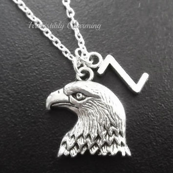 On sale.......Silver plated falcon necklace, monogram personalized custom gifts under 10 item No.720