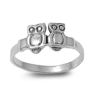 925 Sterling Silver Twin Owl Visionary 8MM Ring